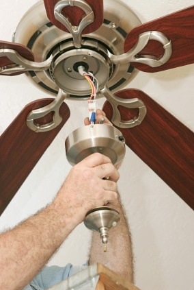 Ceiling fan install in Fallston NC by Tri-City Electric.