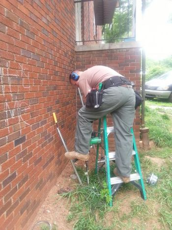 Jason is installing new ground rods in Conover, NC